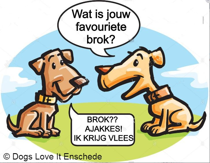 Vers vlees hond cartoon